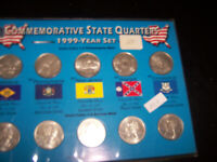 1999 P & D State Commemorative Quarters 10 Coins