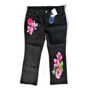 DG2 Diane Gilman Jeans Plus Size 16P Bootcut Tropical Hibiscus Print Black