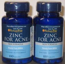 2 x 100 Puritan's Pride Zinc for Acne Skin Formula 200 tablets