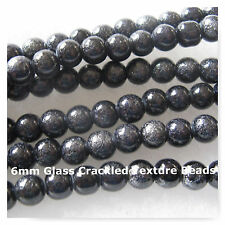 70 Glass Beads 6mm Textured Crackled Look Black Beads Round Spacer