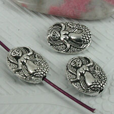 6pcs tibetan silver color oval mermaid pattern spacer beads EF0376