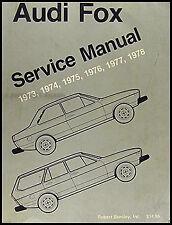 Audi Fox Shop Manual 1975 1976 1977 1978 Bentley Repair Service Book