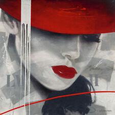 Hans Jochem: Glamorous I Fertig-Bild 30x30 Wandbild Frau Hut Kult Mode