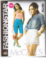 Easy Fashion Star Shorts Lace McCalls Sewing Pattern Misses Size 14 16 18 20 22