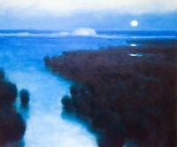 24x20 Beach Ocean Seascape Full Moon Impressionism Landscape Art Oil Painting