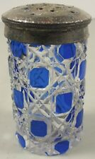 Vintage Cut Glass Salt Shaker ~Blue Stain Hob & Lace Octagonal Diamond Pattern