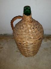 Demijohn Large Green Glass Bottle Covered in Wicker Bottle Marked SB5