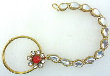 RED KUNDAN BELLY DANCE GOLD TONE INDIAN BOLLYWOOD BRIDAL NOSE RING NATH JEWELRY