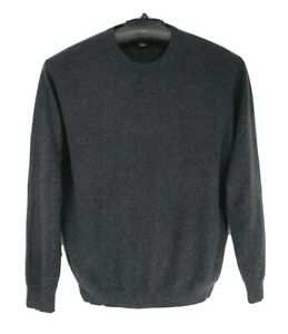 Jos A Bank Traveler's Collection Men Sweater Large Pullover 100% Cashmere Gray