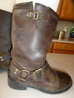 HARLEY DAVIDSON SQUARE TOE HARNESS MOTORCYCLE LEATHER BROWN BOOTS Womens sz 6M