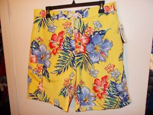 NWT Mens Large Yellow Floral Polo Ralph Lauren Swim Suit Trunks New $79.50