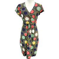 Boden Women's Cotton Stretch Dress Big Polka Dot Multicolor UK Size 14P US 10P