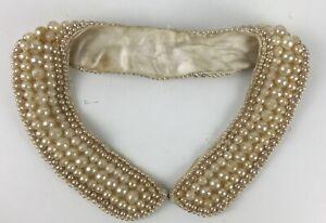 Vintage Large Beaded Fringe Collar Appliqu\u00e9 White /& AB Pearls.
