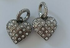 antique Heart Charm New Brighton Abc Token Clear Crystal