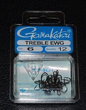 12 Pack Gamakatsu 77407 Extra Wide Gap (EWG) NS Black Treble Hooks - Size 6
