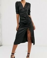 Outrageous Fortune Tall Ruched Midi Dress in Tonal Black Leopard Print -Size 16