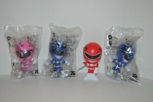 3 NEW Sealed Burger King Power Rangers Yellow Red Blue  25th Anniversary