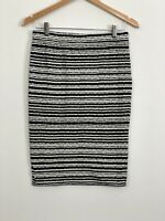 WITCHERY Womens Black White Stretch High Rise Bodycon Pencil Skirt Size 12