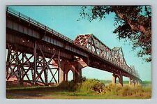 Baton Rouge LA, The Mississippi River Bridge, Chrome Louisiana Postcard