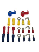 FULLY INSULATED SPADE ELECTRICAL TERMINALS RED BLUE YELLOW WIRE CRIMP CONNECTOR.