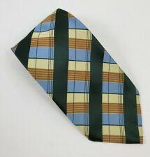 MEN'S Marquis Paris Multi-Color Plaid w/ Solid Green Stripe NECK TIES DESIGNER
