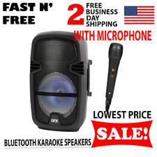 Karaoke Speakers Bluetooth Portable Wireless LED DJ Rechargeable With Microphone