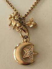 Joan Rivers Moon & Star Charm Pendant Necklace Elephant Clover Bee Charms Long