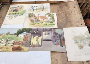 Six Original Vintage Watercolours, Various Scenes, Approx A4 Size