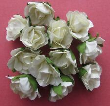 20 Paper Flowers Cream with Green Leaf 25mm - Card Making & Scrapbooking