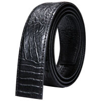 High Quality Men's Belt Black Crocodile Genuine Leather Only Belts No Buckles