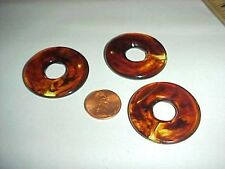 "6 VINTAGE AMBER TORTOISE ACRYLIC SMOOTH WAVY 1.5"" DECO DONUT BEADS L559"