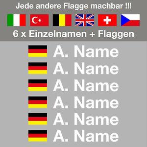 6 x Aufkleber Flagge + Name | 12 mm | Motorsport | Helm | Motorrad | Fahrrad