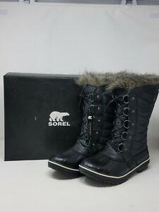 $170 Sorel Women's Black Tofino II CVS Waterproof Winter Faux-fur Boots Shoes 8