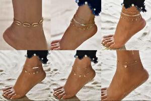 Ladies Anklet Bracelet Beaded Gold Silver Adjustable Summer Anklet Foot Chain UK