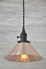 Brushed Copper Spun Cone Shade Flat Black Industrial Pendant Light Fixture Rusti