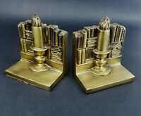 Vintage Brass Metal Book Ends Candle Stick Stacked Book Shelves