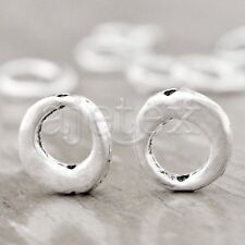 80Pcs Tibetan Silver Smooth Round Frame Beads fit Vintage Jewelry Making TS710