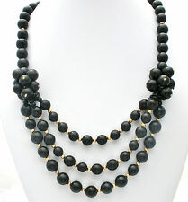 Black Statement Beaded Necklace Gold 24 In Fashion Vintage Rockabilly Jewelry