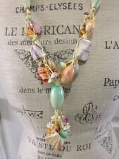Women's Multi-Color Beads Necklace With Pale Yellow Twine/Rope Statement Jewelry