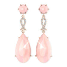 Solid Sterling Silver Drop Earrings with Pink Chalcedony & White Topaz Gemstone