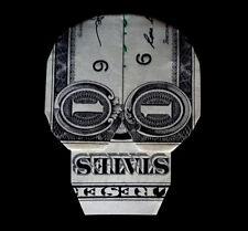 Origami Dollar SKULL Small Mask Halloween Wall Decor Money Crisp Real $1 Bill