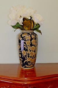 Ceramic Embossed Vase Navy Gold Regal Design 35cm Tall Home Garden Ornament