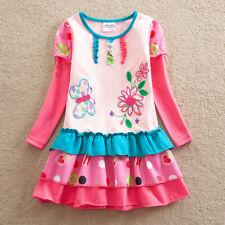 NEW Girls Pink Butterfly Flower Long Sleeve Ruffle Dress 4-5