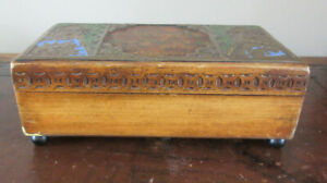 Vintage Wooden Music Box Decorative Top 'For S/He's A Jolly Good Fellow' Tune