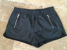 FOREVER 21 Black Perforated Faux Leather High Rise Track Booty Shorts Sz M NWOT!