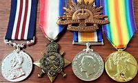 WW1 AUSTRALIAN BRITISH COMMONWEALTH MILITARY MEDAL TRIO HAT BADGE REPLICA ANZAC
