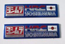 2x HRC Yoshimura Japan Aluminum Plate Decal Exhaust System Sticker Blue