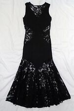 Vintage 80s Goth dress by Top Shop in lace and stretchy T shirt fabric - size 12