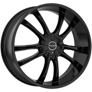 """Akuza 847 Shadow 22x8.5 5x108/5x4.5"""" +45mm Gloss Black Wheel Rim 22"""" Inch"""