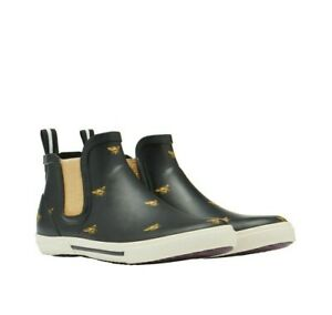 NEW! Joules Rainwell Ladies Short Height Rubber Boots Black Bee